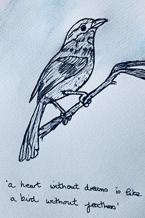 drawing of a bird of a twig