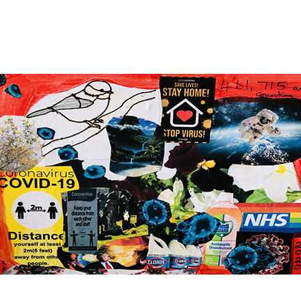 collage of images related to Covid-19