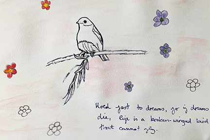 drawing of a bird on a twig