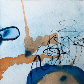 painting in blues and oranges inspired by Handel's Water Music
